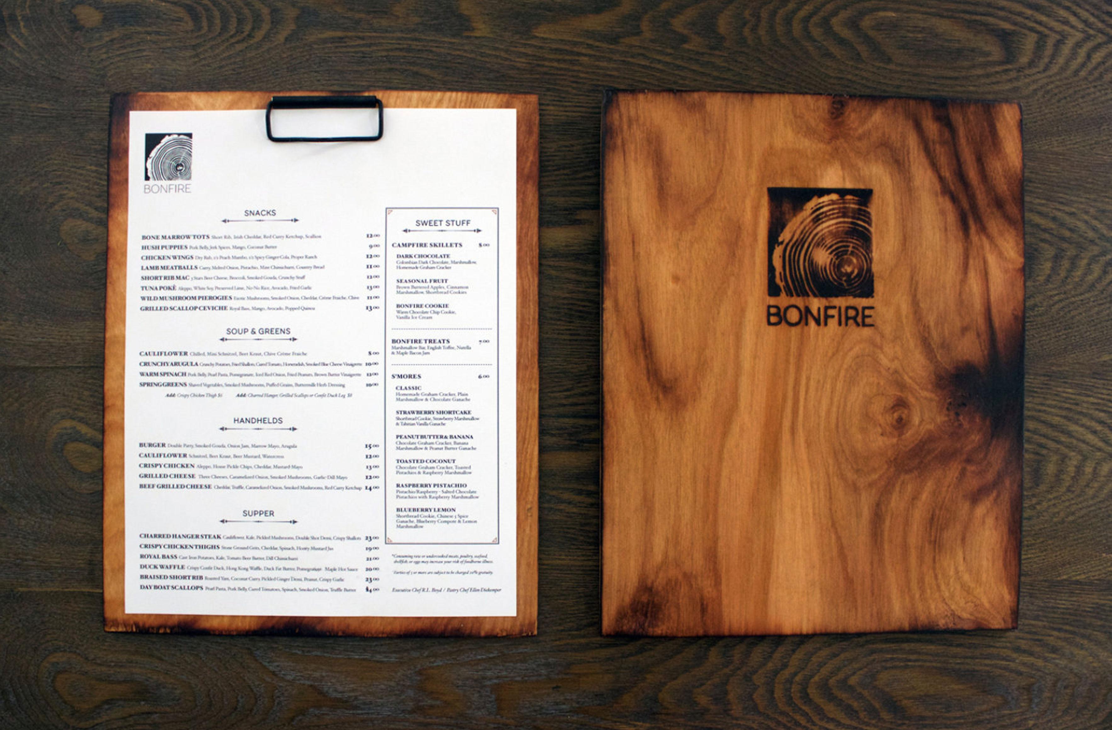 bonfire menu mockup