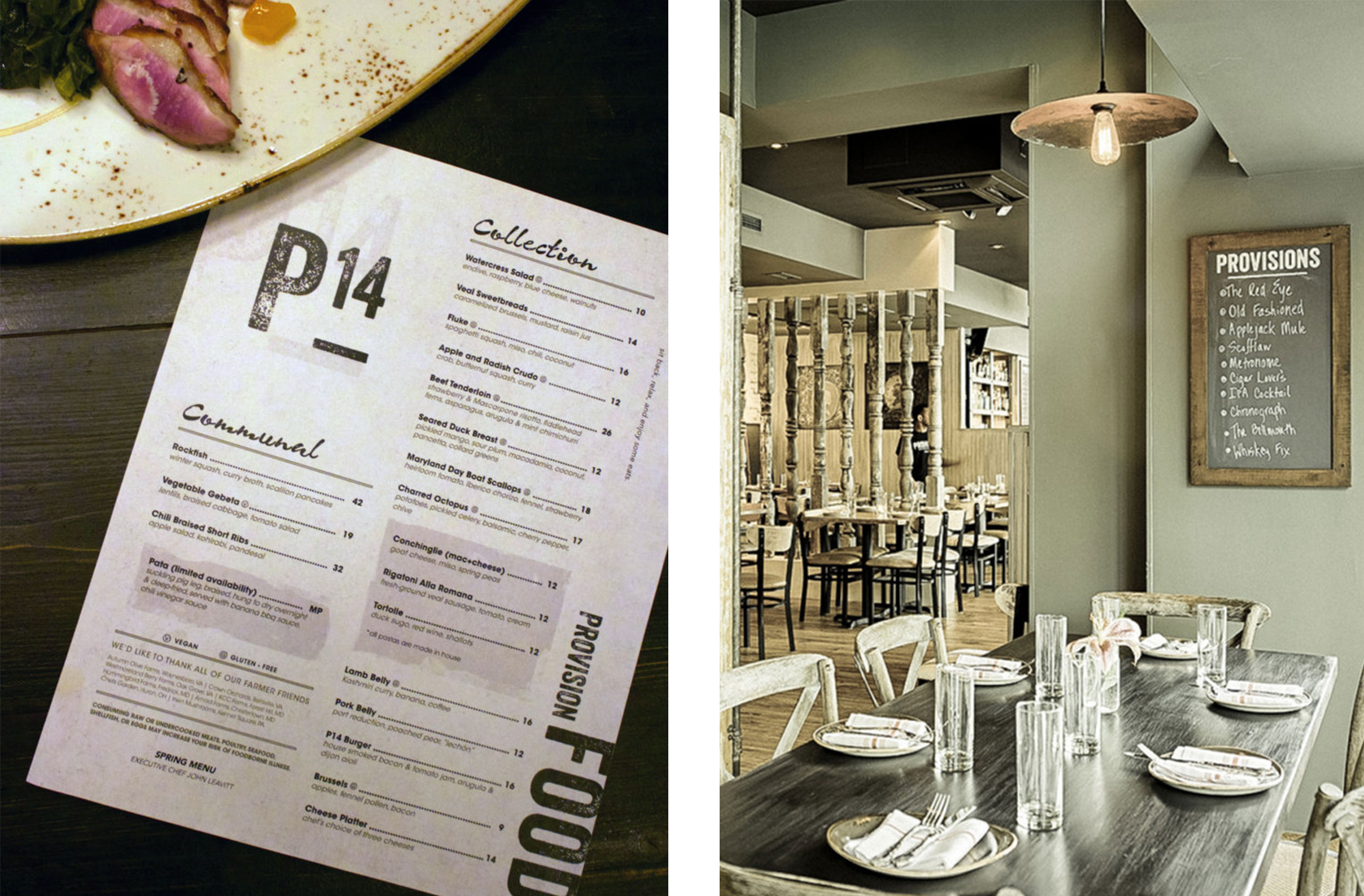 provisions interior and menu